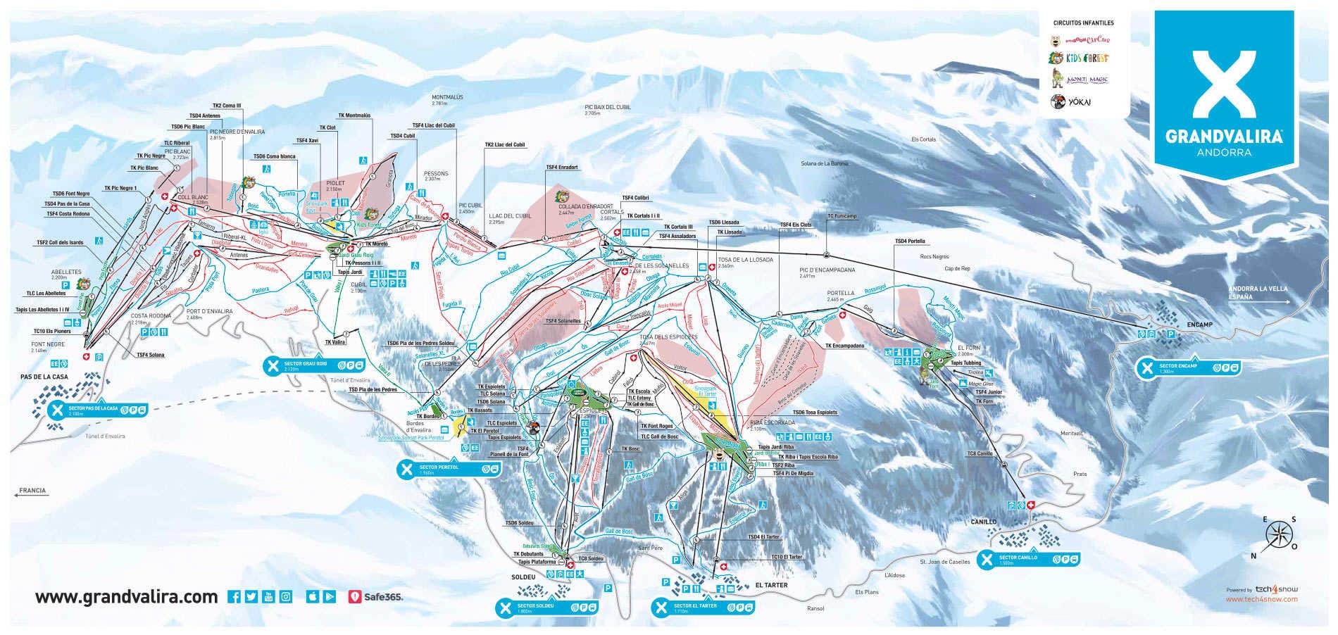 Carte de station de ski de Grandvalira