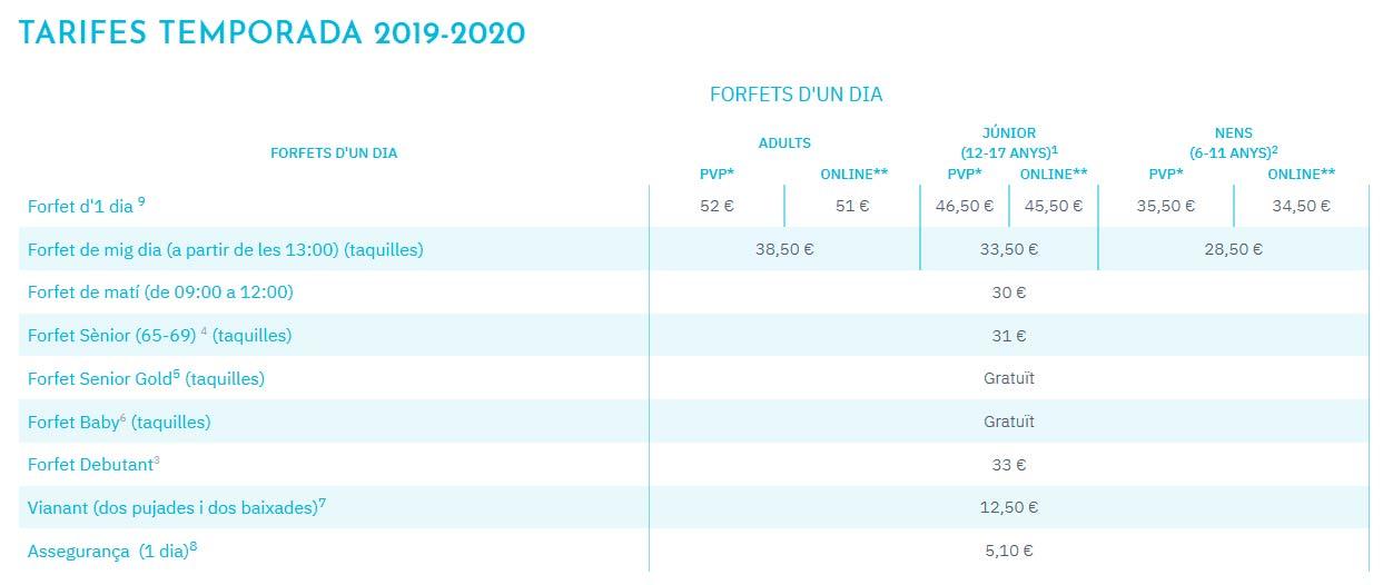 TARIFES TEMPORADA 2019-2020